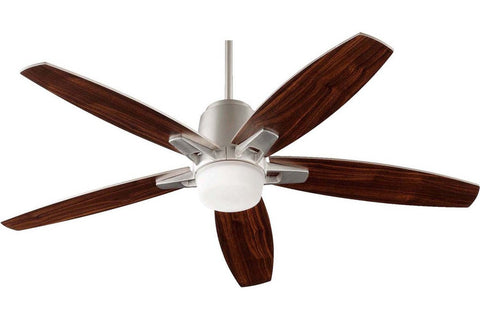 "Quorum 39525-65 52"" Metro in Satin Nickel with Walnut Blades Indoor Rated Ceiling Fan"