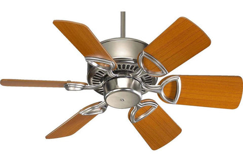 "Quorum 43306-65 30"" Estate in Satin Nickel with Reversible Teak and Walnut Blades Indoor Rated Ceiling Fan"
