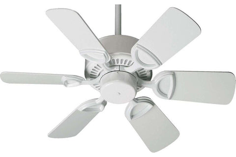 "Quorum 43306-6 30"" Estate in White with White Blades Indoor Rated Ceiling Fan"