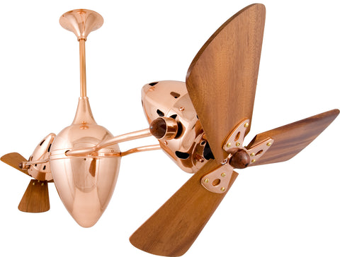 "Matthews Fan Co AR-CP-WD 46"" Ar Ruthiane in Polished Copper with Mahogany Blades"