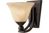 Hinkley 4650OB Bolla Reversible Glass Wall Sconce Lighting in Olde Bronze with Light Amber Seedy Glass