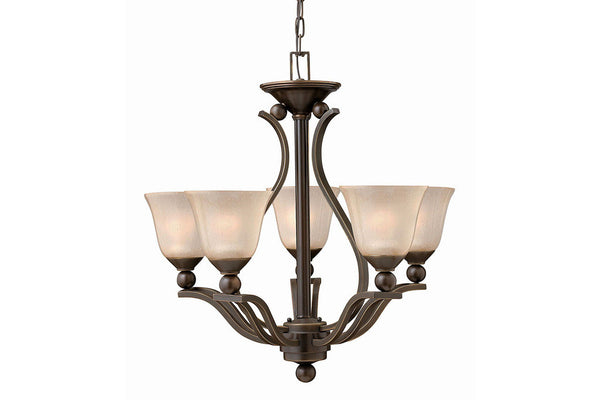 Hinkley 4655OB Bolla Glass 1 Tier Chandelier Lighting in Olde Bronze with Light Amber Seedy Glass