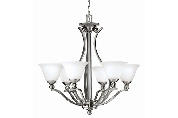Hinkley 4656BN Bolla Large Glass 1 Tier Chandelier Lighting in Brushed Nickel with Etched Opal Glass