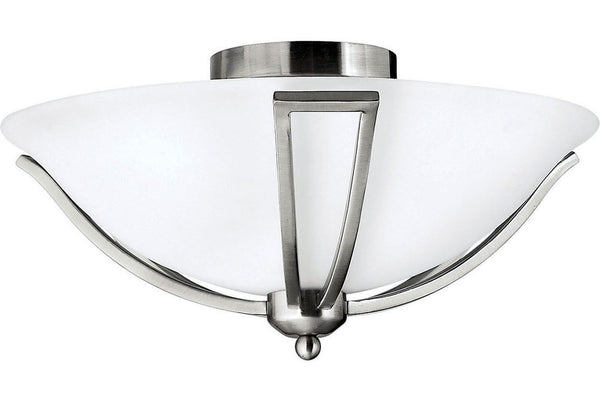 Hinkley 4660BN Bolla Round Glass Semi Flush Ceiling Lighting in Brushed Nickel with Etched Opal Glass
