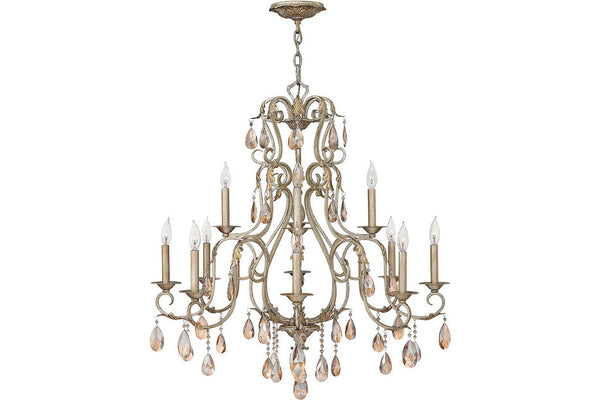Hinkley 4778SL Carlton Crystal 2 Tier Chandelier Lighting in Silver Leaf