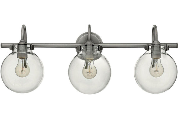 Hinkley 50034AN Congress Blown Glass Wall Vanity Lighting in Antique Nickel with Hand Blown Clear Glass