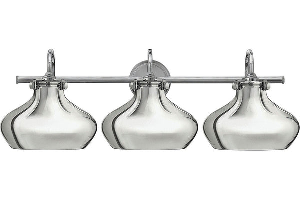 Hinkley 50038CM Congress Blown Glass Wall Vanity Lighting in Chrome with Hand Blown Clear Glass