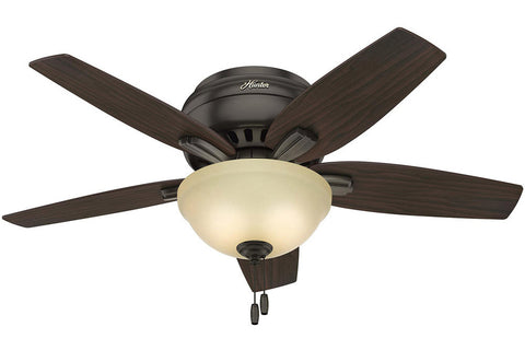 "Hunter Newsome Collection - 42"" Ceiling Fan in Premier Bronze with Low Profile Bowl Light Kit"