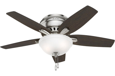 "Hunter Newsome Collection - 42"" Ceiling Fan in Brushed Nickel with Low Profile Bowl Light Kit"
