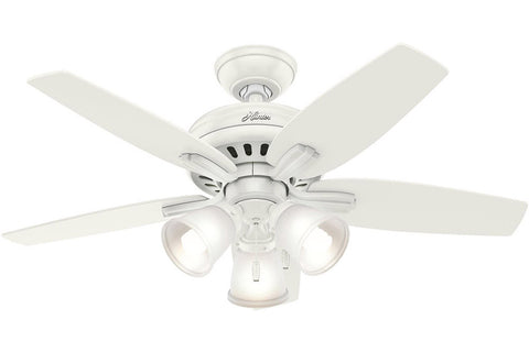 "Hunter Newsome Collection - 42"" Ceiling Fan in Fresh White Three Light Kit"