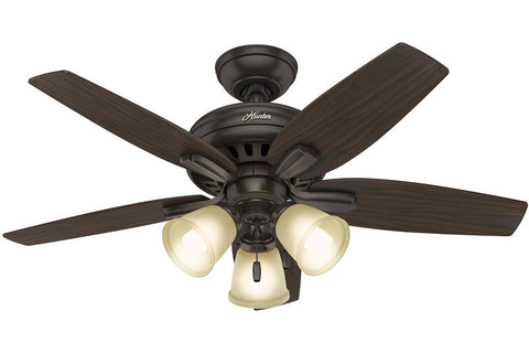 "Hunter Newsome Collection - 42"" Ceiling Fan in Premier Bronze Three Light Kit"