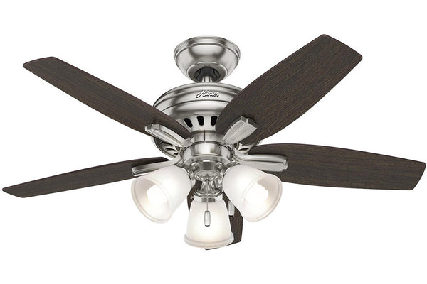 "Hunter Newsome Collection - 42"" Ceiling Fan in Brushed Nickel Three Light Kit"