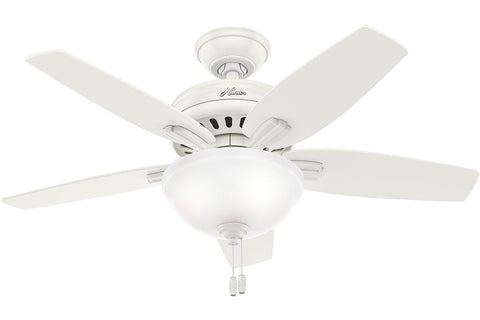 "Hunter Newsome Collection - 42"" Ceiling Fan in Fresh White Bowl Light Kit"