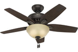 "Hunter Newsome Collection - 42"" Ceiling Fan in Premier Bronze Bowl Light Kit"