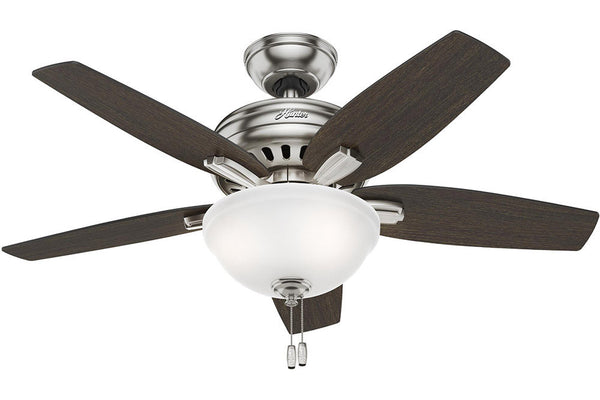 "Hunter Newsome Collection - 42"" Ceiling Fan in Brushed Nickel Bowl Light Kit"