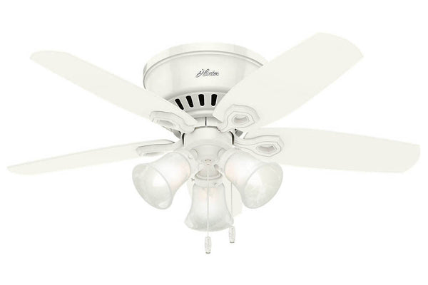 "Hunter Builder Low Profile - 42"" Ceiling Fan in Snow White Three Light Kit"