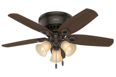 "Hunter Builder Low Profile - 42"" Ceiling Fan in New Bronze Three Light Kit"