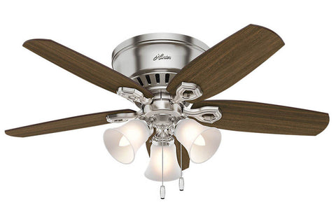 "Hunter Builder Low Profile - 42"" Ceiling Fan in Brushed Nickel Three Light Kit"