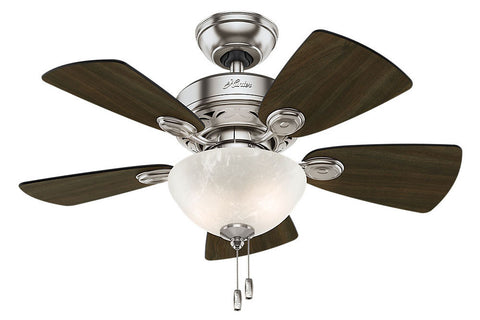 "Hunter Watson - 34"" Ceiling Fan in Brushed Nickel White Bowl Light Kit"