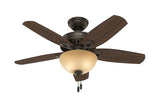 "Hunter Builder Small Room - 42"" Ceiling Fan in New Bronze Bowl Light Kit"