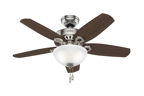 "Hunter Builder Small Room - 42"" Ceiling Fan in Brushed Nickel Bowl Light Kit"