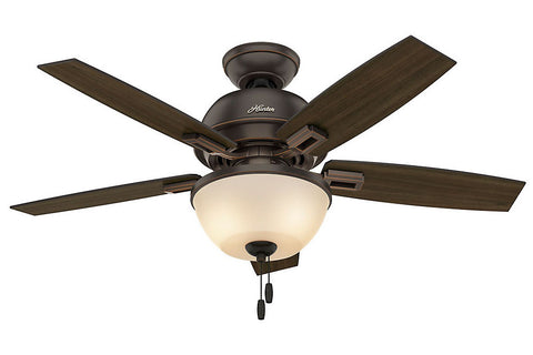 "Hunter Donegan Collection - 44"" Ceiling Fan in Onyx Bengal Bowl Light Kit"