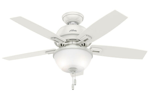 "Hunter Donegan Collection - 44"" Ceiling Fan in Fresh White Bowl Light Kit"