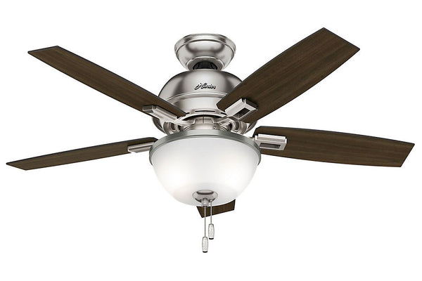 "Hunter Donegan Collection - 44"" Ceiling Fan in Brushed Nickel Bowl Light Kit"