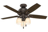 "Hunter Donegan Collection - 44"" Ceiling Fan in Onyx Bengal Three Light Kit"