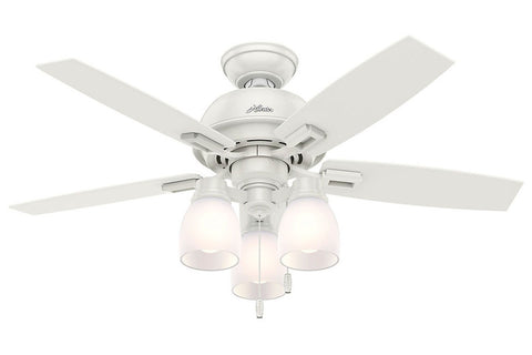"Hunter Donegan Collection - 44"" Ceiling Fan in Fresh White Three Light Kit"