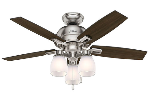 "Hunter Donegan Collection - 44"" Ceiling Fan in Brushed Nickel Three Light Kit"