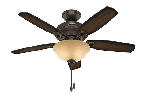 "Hunter Ambrose Collection - 44"" Ceiling Fan in Onyx Bengal Bowl Light Kit"