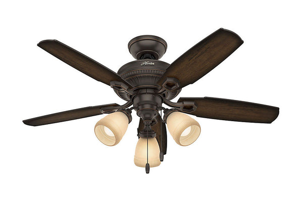 "Hunter Ambrose Collection - 44"" Ceiling Fan in Onyx Bengal Three Light Kit"