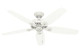 "Hunter Builder Elite - 52"" Ceiling Fan in Snow White- ETL Damp"
