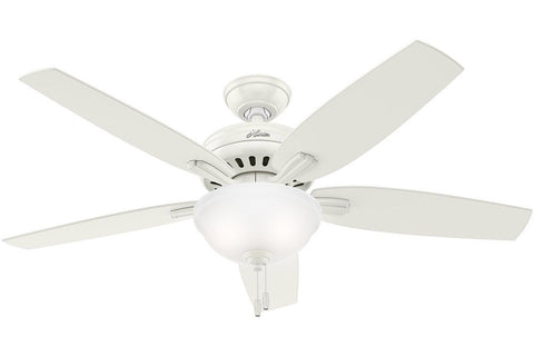 "Hunter Newsome Collection - 52"" Ceiling Fan in Fresh White Bowl Light Kit"