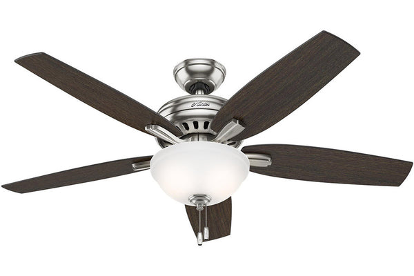 "Hunter Newsome Collection - 52"" Ceiling Fan in Brushed Nickel Bowl Light Kit"