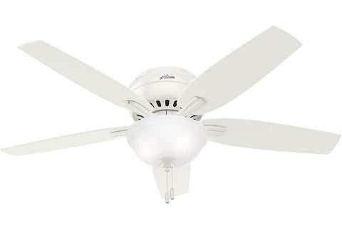 "Hunter Newsome Collection - 52"" Ceiling Fan in Fresh White Low Profile Bowl Light Kit"