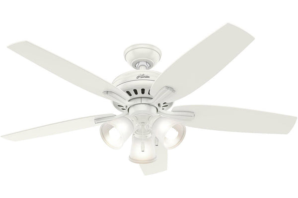 "Hunter Newsome Collection - 52"" Ceiling Fan in Fresh White Three Light Kit"