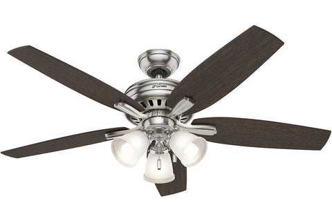 "Hunter Newsome Collection - 52"" Ceiling Fan in Brushed Nickel Three Light Kit"