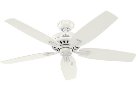 "Hunter Newsome Collection - 52"" Ceiling Fan in Fresh White No Light Kit"