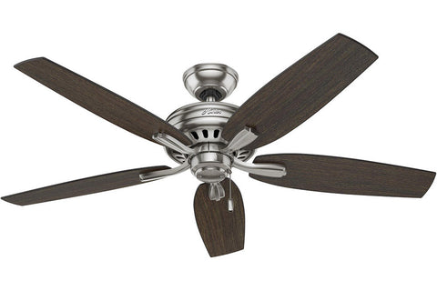 "Hunter Newsome Collection - 52"" Ceiling Fan in Brushed Nickel No Light Kit"
