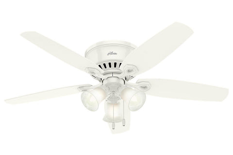 "Hunter Builder Low Profile - 52"" Ceiling Fan in Snow White Three Light"