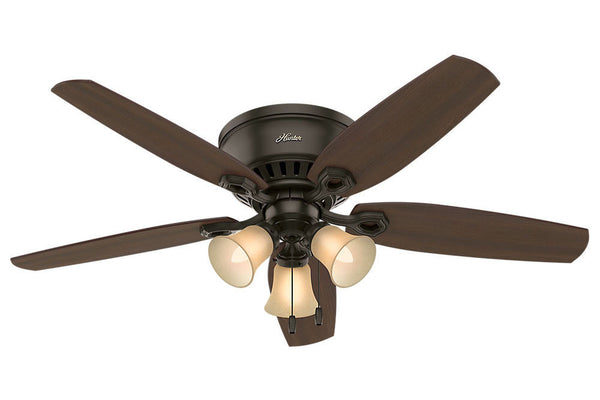 "Hunter Builder Low Profile - 52"" Ceiling Fan in New Bronze Three Light"