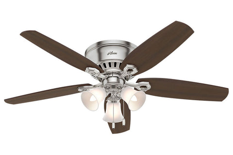 "Hunter Builder Low Profile - 52"" Ceiling Fan in Brushed Nickel Three Light"
