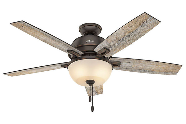 "Hunter Donegan Collection - 52"" Ceiling Fan in Onyx Bengal Bowl Light Kit"
