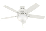 "Hunter Donegan Collection - 52"" Ceiling Fan in Fresh White Bowl Light Kit"