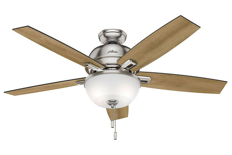 "Hunter Donegan Collection - 52"" Ceiling Fan in Brushed Nickel Bowl Light Kit"
