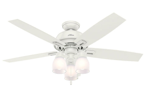 "Hunter Donegan Collection - 52"" Ceiling Fan in Fresh White Three Light Kit"
