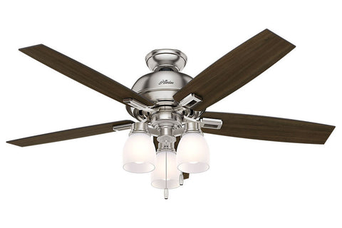 "Hunter Donegan Collection - 52"" Ceiling Fan in Brushed Nickel Three Light Kit"