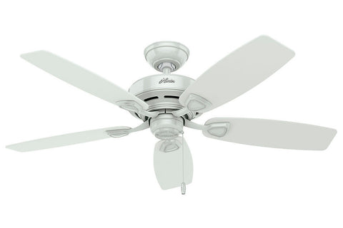 "Hunter Sea Wind Collection - 48"" Ceiling Fan in White- ETL Damp"